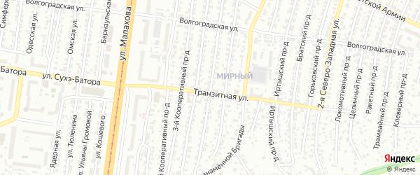 Кооперативный 1-й проезд на карте Барнаула с номерами домов
