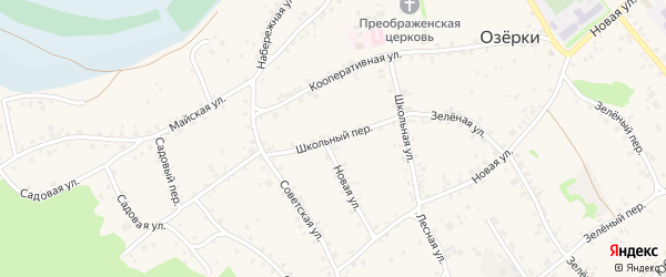 Школьный переулок на карте села Озерков с номерами домов