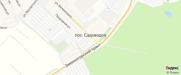 Карта поселка Садоводова города Барнаула в Алтайском крае с улицами и номерами домов
