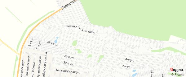 Карта садового некоммерческого товарищества Прогресса города Барнаула в Алтайском крае с улицами и номерами домов