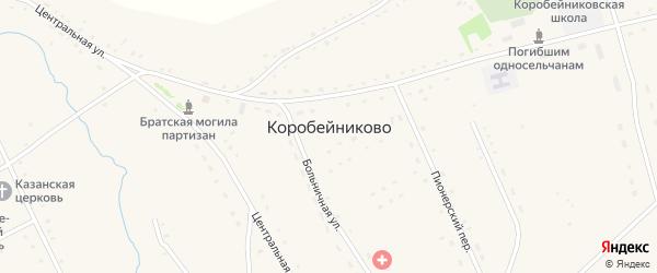 Зеленая улица на карте села Коробейниково с номерами домов