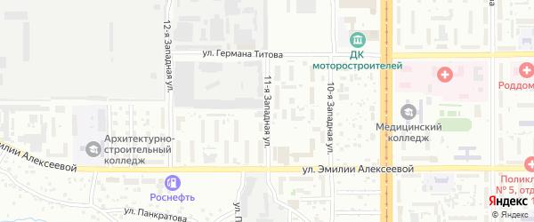 11-я улица на карте садового некоммерческого товарищества Ветерана с номерами домов