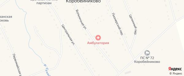 Больничная улица на карте села Коробейниково с номерами домов