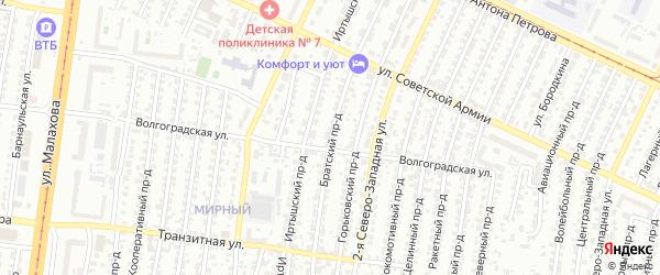 Братский проезд на карте Барнаула с номерами домов