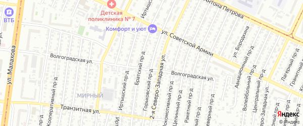 Горьковский проезд на карте Барнаула с номерами домов
