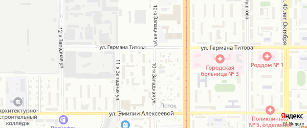 Западная 10-я улица на карте Барнаула с номерами домов