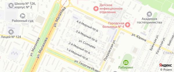 Мирный 3-й проезд на карте Барнаула с номерами домов