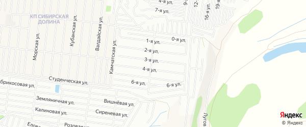 Карта садового некоммерческого товарищества Флоры города Барнаула в Алтайском крае с улицами и номерами домов