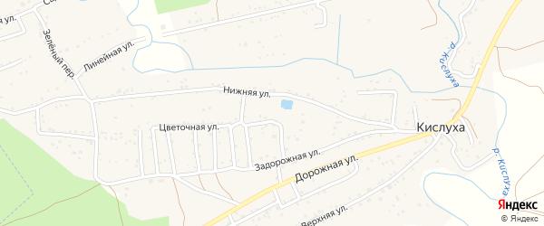 Солнечный переулок на карте поселка Кислуха с номерами домов