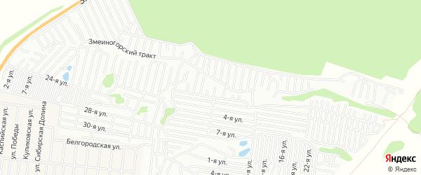 Карта садового некоммерческого товарищества Коммунальщика-1 города Барнаула в Алтайском крае с улицами и номерами домов