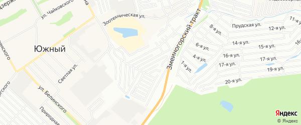 Карта садового некоммерческого товарищества Алтайские зори города Барнаула в Алтайском крае с улицами и номерами домов