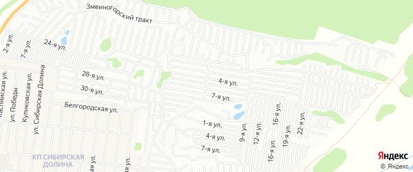 Карта садового некоммерческого товарищества Рассвета города Барнаула в Алтайском крае с улицами и номерами домов