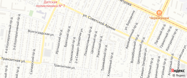 Целинный проезд на карте Барнаула с номерами домов