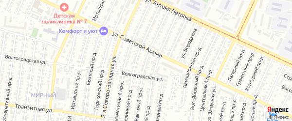 Ракетный проезд на карте Барнаула с номерами домов