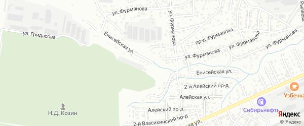 Енисейская улица на карте Барнаула с номерами домов