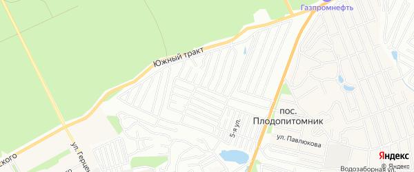 Карта садового некоммерческого товарищества Сибирского садовода города Барнаула в Алтайском крае с улицами и номерами домов
