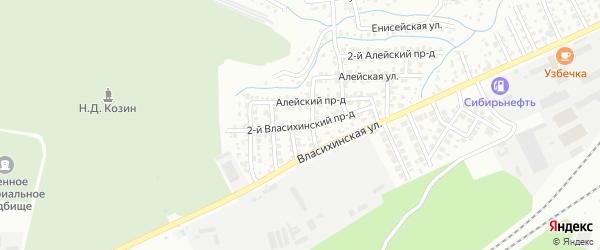 Власихинский 2-й проезд на карте Барнаула с номерами домов