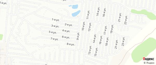 Прямолинейная улица на карте садового некоммерческого товарищества Медика с номерами домов