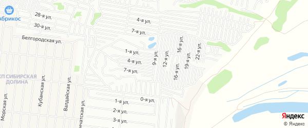 Карта садового некоммерческого товарищества Медика города Барнаула в Алтайском крае с улицами и номерами домов