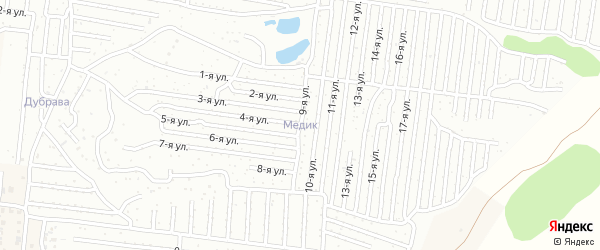 Приовражная улица на карте садового некоммерческого товарищества Медика с номерами домов
