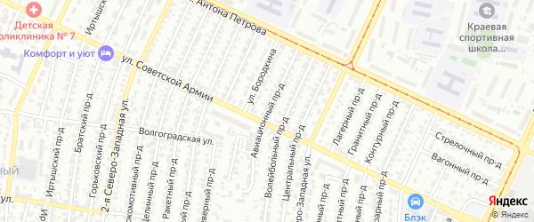 Авиационный проезд на карте Барнаула с номерами домов