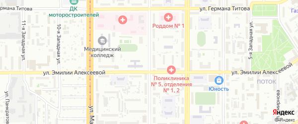 Улица Глушкова на карте Барнаула с номерами домов