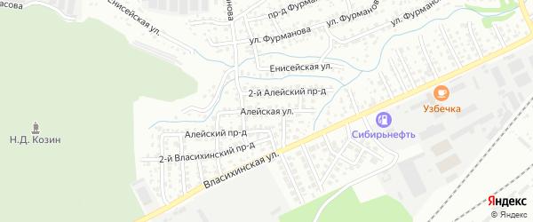 Алейская улица на карте Барнаула с номерами домов