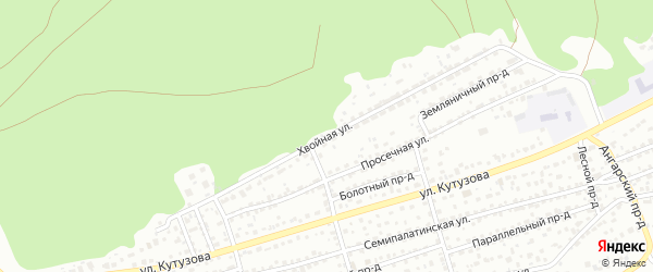 Хвойная улица на карте Барнаула с номерами домов