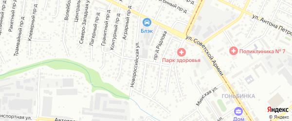 Новороссийский проезд на карте Барнаула с номерами домов