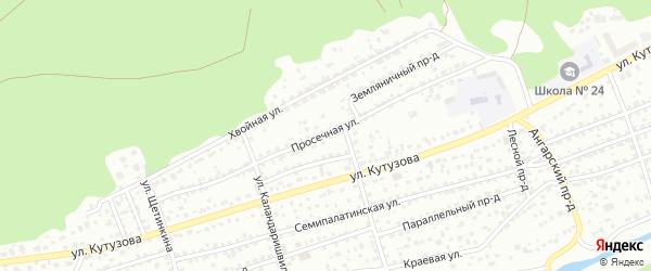 Просечная улица на карте Барнаула с номерами домов