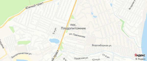 Карта поселка Плодопитомника города Барнаула в Алтайском крае с улицами и номерами домов