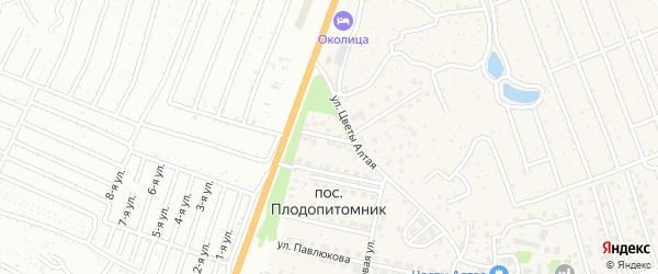 Проселочная улица на карте поселка Плодопитомника с номерами домов