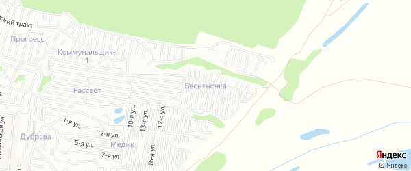 Карта садового некоммерческого товарищества Весняночки города Барнаула в Алтайском крае с улицами и номерами домов