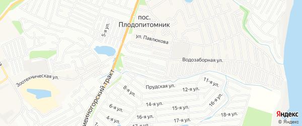 Карта садового некоммерческого товарищества Солнечного города Барнаула в Алтайском крае с улицами и номерами домов