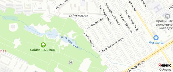 Речная 3-я улица на карте Барнаула с номерами домов