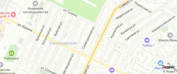 Селекционная улица на карте Барнаула с номерами домов