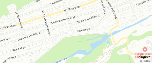 Краевая улица на карте Барнаула с номерами домов