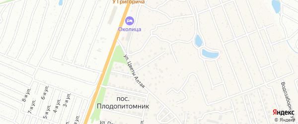 Тенистая улица на карте поселка Плодопитомника с номерами домов