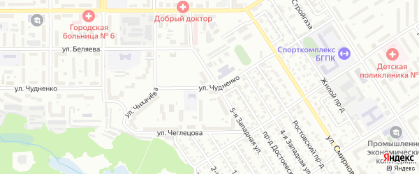 Улица Чудненко на карте Барнаула с номерами домов
