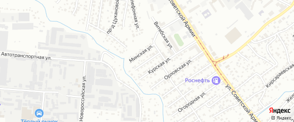 Харьковская улица на карте Барнаула с номерами домов