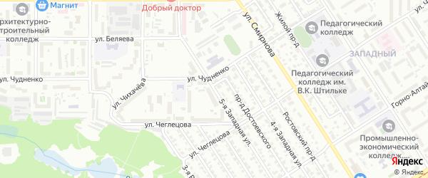 Западная 5-я улица на карте Барнаула с номерами домов
