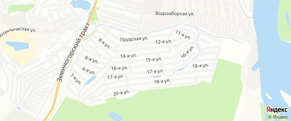 Карта садового некоммерческого товарищества Октябрьского садовода города Барнаула в Алтайском крае с улицами и номерами домов