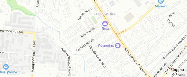 Орловская улица на карте Барнаула с номерами домов