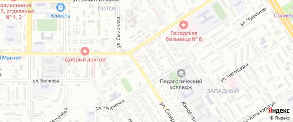 Станочный проезд на карте Барнаула с номерами домов