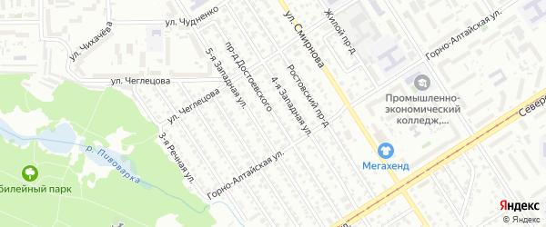 Проезд Достоевского на карте Барнаула с номерами домов