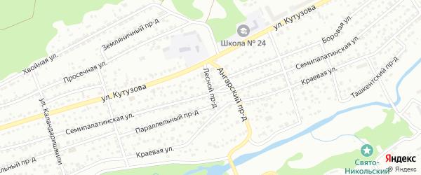 Лесной проезд на карте Барнаула с номерами домов