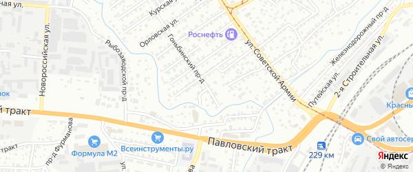 Гоньбинский проезд на карте Барнаула с номерами домов