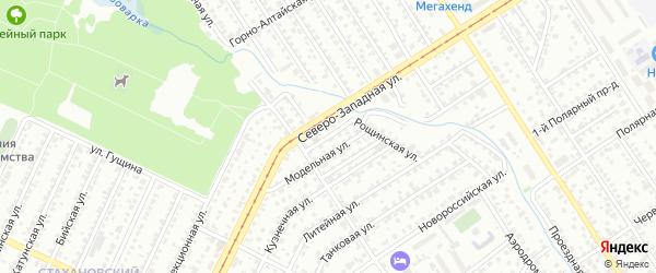 Модельный проезд на карте Барнаула с номерами домов