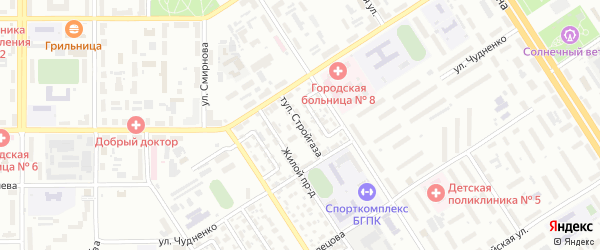 Тупик Стройгаза на карте Барнаула с номерами домов