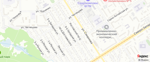 Ростовский проезд на карте Барнаула с номерами домов